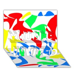 Colorful abstraction YOU ARE INVITED 3D Greeting Card (7x5)