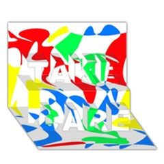 Colorful abstraction TAKE CARE 3D Greeting Card (7x5)