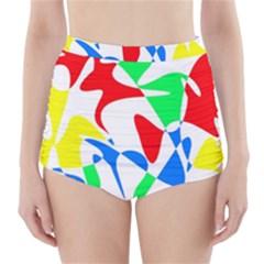 Colorful Abstraction High Waisted Bikini Bottoms