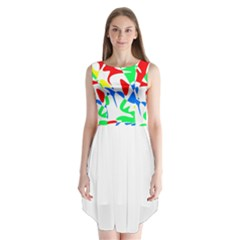 Colorful abstraction Sleeveless Chiffon Dress