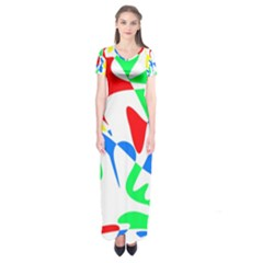 Colorful abstraction Short Sleeve Maxi Dress