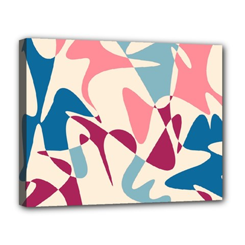 Blue, pink and purple pattern Canvas 14  x 11
