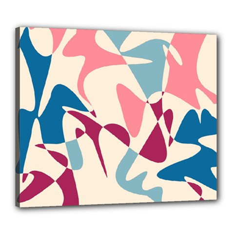 Blue, pink and purple pattern Canvas 24  x 20