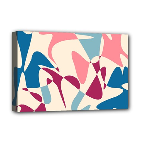 Blue, pink and purple pattern Deluxe Canvas 18  x 12
