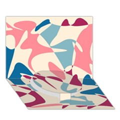 Blue, pink and purple pattern Circle Bottom 3D Greeting Card (7x5)