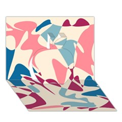 Blue, pink and purple pattern Apple 3D Greeting Card (7x5)