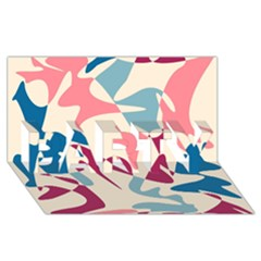 Blue, pink and purple pattern PARTY 3D Greeting Card (8x4)