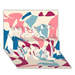Blue, Pink And Purple Pattern Miss You 3d Greeting Card (7x5)