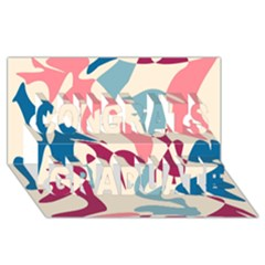 Blue, pink and purple pattern Congrats Graduate 3D Greeting Card (8x4)
