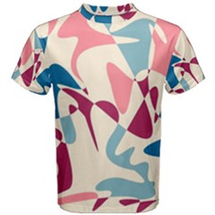 Blue, pink and purple pattern Men s Cotton Tee
