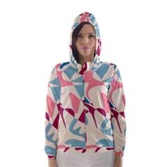 Blue, pink and purple pattern Hooded Wind Breaker (Women)