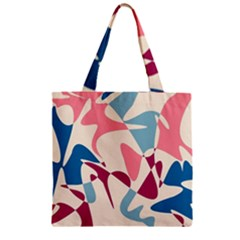 Blue, pink and purple pattern Zipper Grocery Tote Bag