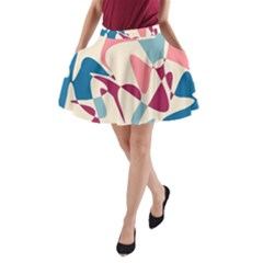 Blue, pink and purple pattern A-Line Pocket Skirt