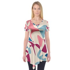 Blue, Pink And Purple Pattern Short Sleeve Tunic