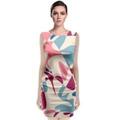 Blue, pink and purple pattern Classic Sleeveless Midi Dress