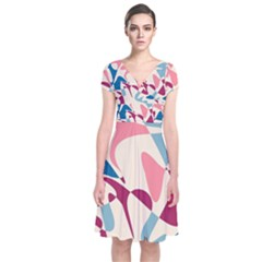 Blue, pink and purple pattern Short Sleeve Front Wrap Dress