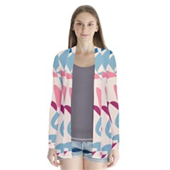 Blue, Pink And Purple Pattern Drape Collar Cardigan