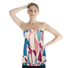 Blue, pink and purple pattern Strapless Top