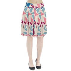 Blue, pink and purple pattern Pleated Skirt