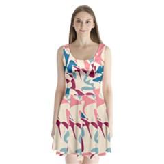 Blue, pink and purple pattern Split Back Mini Dress
