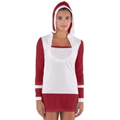 Red and White Women s Long Sleeve Hooded T-shirt