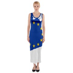 Catalonia European Union Flag Map  Fitted Maxi Dress