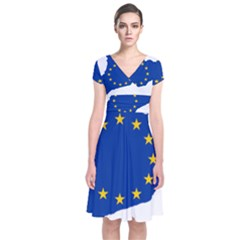 Catalonia European Union Flag Map  Short Sleeve Front Wrap Dress