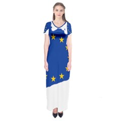 Catalonia European Union Flag Map  Short Sleeve Maxi Dress