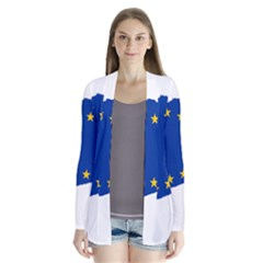 Catalonia European Union Flag Map  Drape Collar Cardigan