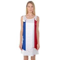 Flag Map Of France Sleeveless Satin Nightdress