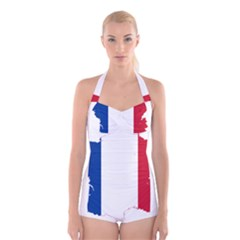 Flag Map Of France Boyleg Halter Swimsuit