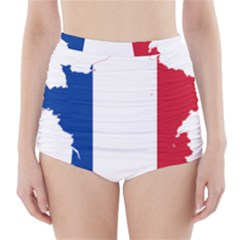 Flag Map Of France High-Waisted Bikini Bottoms