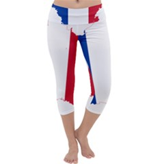 Flag Map Of France Capri Yoga Leggings
