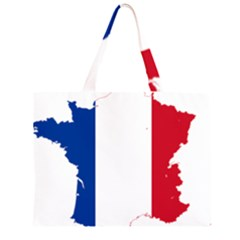 Flag Map Of France Large Tote Bag