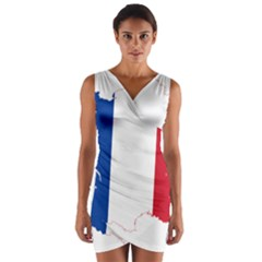 Flag Map Of France Wrap Front Bodycon Dress