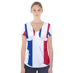 Flag Map Of France Short Sleeve Front Detail Top
