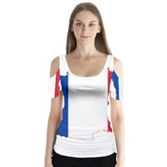 Flag Map Of France Butterfly Sleeve Cutout Tee