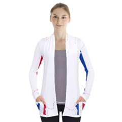 Flag Map Of France Women s Open Front Pockets Cardigan(P194)