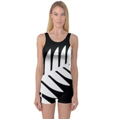 New Zealand Silver Fern Flag One Piece Boyleg Swimsuit
