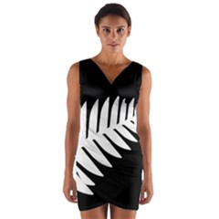New Zealand Silver Fern Flag Wrap Front Bodycon Dress
