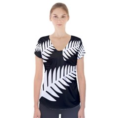 New Zealand Silver Fern Flag Short Sleeve Front Detail Top