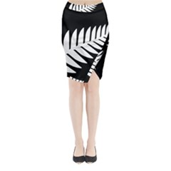 New Zealand Silver Fern Flag Midi Wrap Pencil Skirt