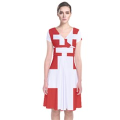 Coat Of Arms Of Switzerland Short Sleeve Front Wrap Dress