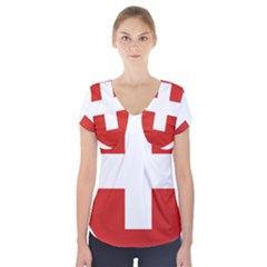 Coat Of Arms Of Switzerland Short Sleeve Front Detail Top
