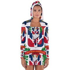 Coat Of Arms Of The Dominican Republic Women s Long Sleeve Hooded T-shirt