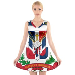 Coat Of Arms Of The Dominican Republic V-Neck Sleeveless Skater Dress