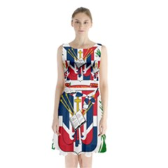 Coat Of Arms Of The Dominican Republic Sleeveless Waist Tie Dress