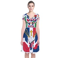 Coat Of Arms Of The Dominican Republic Short Sleeve Front Wrap Dress