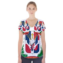 Coat Of Arms Of The Dominican Republic Short Sleeve Front Detail Top
