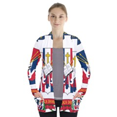 Coat Of Arms Of The Dominican Republic Women s Open Front Pockets Cardigan(P194)